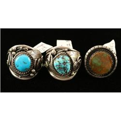 Lot of 3 Sterling & Turquoise Rings