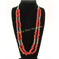 Double Strand Navajo Coral Necklace