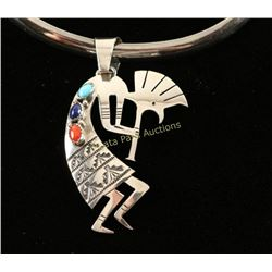 Sterling Zuni Choker with Kokopelli Pendant