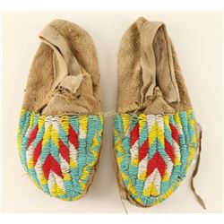 Pair of Plains Indians Beaded Moccasins