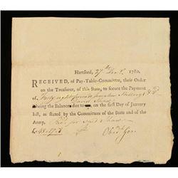 Revolutionary War Pay Slip