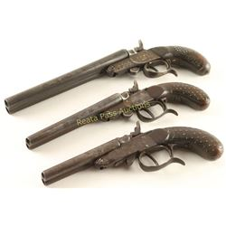 Collection of 3 Antique Double Barrel Pistols
