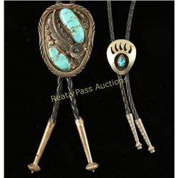 2 Turquoise & Sterling Bolo Ties