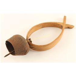 Antique Forged Iron & Shaped Wood Collar Bell