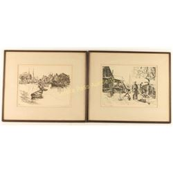 Pair of Lionel Barrymore Etchings