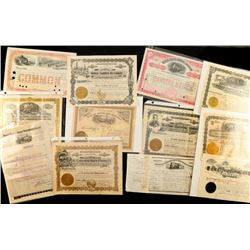 Large Lot of Antique Stock Certificates