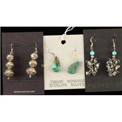 3 Pairs Native American Earrings