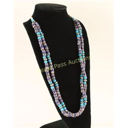 Cobalt Trade Bead Chevron Necklace