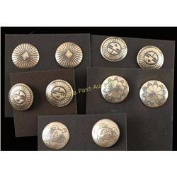 Lot of 5 Sterling Concho Earrings