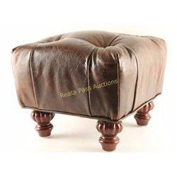 Leather Wrapped Footstool