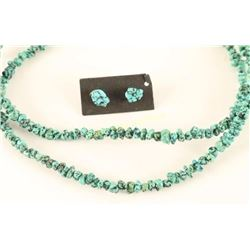 Small Turquoise Nugget Necklace & Earrings