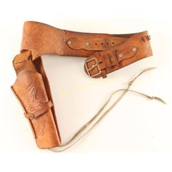 Nice Tooled Leather Gun Belt with Holster