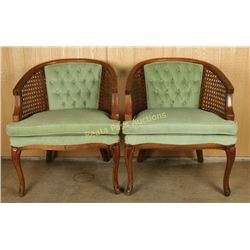 Pair of Caned Club Chairs