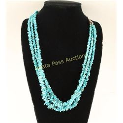 3 Strand Ruff Cut Turquoise Necklace