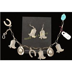 Western Themed Bracelet and Earrings Set