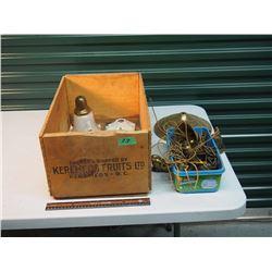 Wood Apple Box, Antique Brass Chandelier, Porcelain Lamp Holder