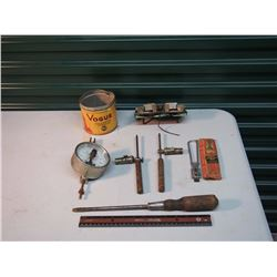 Vogue Tobacco Tin, Vacuum Pressure Gauge, Stanley Wooden Handled Screwdriver, Etc
