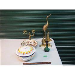 Brass Figurines / Blue Mountain Pottery Case / Enamelware