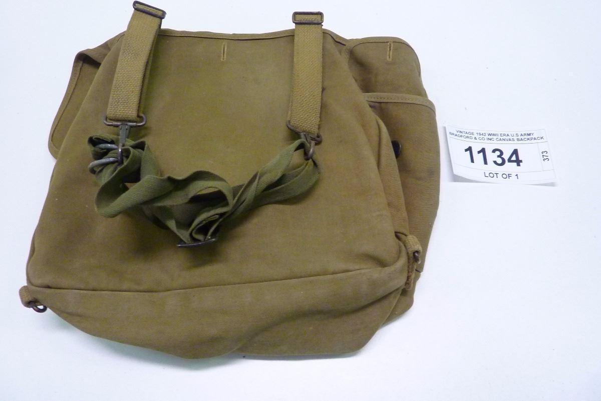 693ee7fa77 ... Image 3   VINTAGE 1942 WWII ERA U.S ARMY BRADFORD   CO INC CANVAS  BACKPACK. SOLD