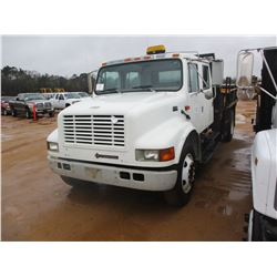 2002 INTERNATIONAL 4700 FLATBED DUMP, VIN/SN:1HTSCAAL72H512702 - S/A, CREW CAB, DT466 ENGINE, A/T, 1