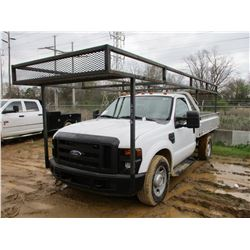 2008 FORD F350 FLATBED TRUCK, VIN/SN:1FDSF34578EA74508 - S/A, V8 GAS ENGINE, A/T, 10' FLATBED BODY,
