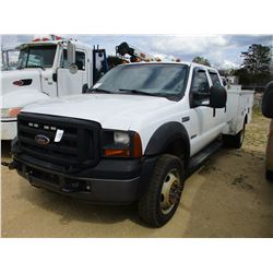 2007 FORD F550 SERVICE TRUCK, VIN/SN:1FDAW57P77EA84815 - S/A, 4X4, CREW CAB, FORD POWER STROKE DIESE