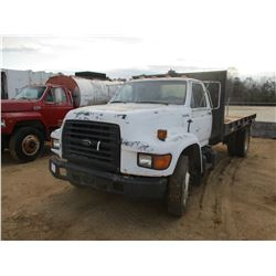 1998 FORD F-SERIES FLATBED DUMP, VIN/SN:1FDNF80C2WVA10176 - DIESEL ENGINE, 5 SPEED MANUAL (DOES NOT