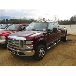 2008 FORD F350 DUALLY VIN/SN:1FTWW33R68EC16146 - CREW CAB, FORD DIESEL ENGINE, A/T (DOES NOT OPERATE