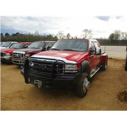 2005 FORD F450 DUALLY FLATBED, VIN/SN:1FDXW47P45EA87902 - POWERSTROKE DIESEL ENGINE, A/T, CREW CAB,