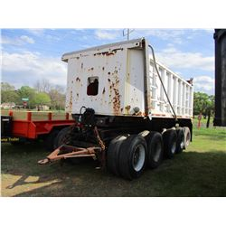 STEEL DUMP TRAILER, - 5 AXLE, 18' LENGTH, 3 AXLE STATIONARY, 2 AXLE TRAILER DOLLY, PENTLE HITCH, 10R