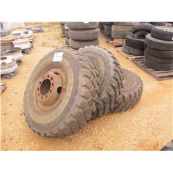 (6) 14.00R20 TIRES AND RIMS