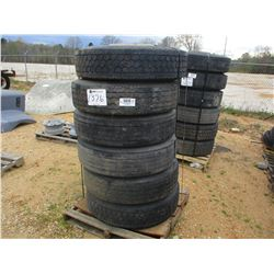 (6) 285/75R 24.5 TIRES AND RIMS