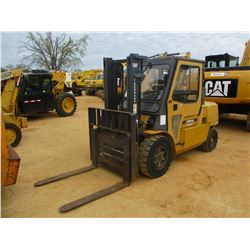 CAT DP50K FORKLIFT, VIN/SN:AT28B51455 - DIESEL ENGINE, 10,050# CAPACITY, 2 STAGE, ENCLOSED CAB, SIDE