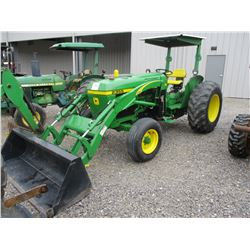 1986 JOHN DEERE 2350 FARM TRACTOR, VIN/SN:764706 - 270TL FRONT LOADER, 3 PTH, PTO, CANOPY, METER REA