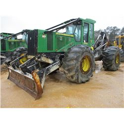 2013 JOHN DEERE 848H SKIDDER, VIN/SN:649762 - GRAPPLE, DUAL ARCH, WINCH, ECAB W/AIR, 30.5L-32 TIRES,