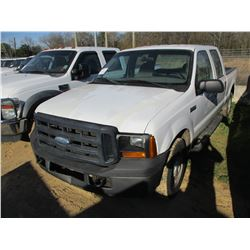 2007 FORD F250 PICK UP, VIN/SN:1FTSW20557EA54549 - CREW CAB, V8 GAS ENGINE, A/T, ODOMETER READING 26