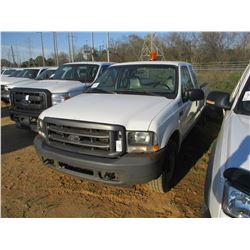 2003 FORD F250 PICKUP, VIN/SN:1FDNX20LX3EB68884 - EXT CAB, V8 GAS ENGINE, A/T, ODOMETER READING 194,