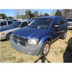 2007 DODGE DURANGO VIN/SN:1D8HB38P77F554080 - V8 GAS ENGINE, A/T, ODOMETER READING 158,509 MILES (ST