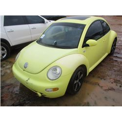 2001 VOLKSWAGON BEETLE VIN/SN:3VWCP21C31M423955 - GAS ENGINE, A/T, ODOMETER READING 202,856 MILES (R