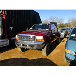 2001 FORD F250 PICKUP, VIN/SN:1FTNX21S21EA64994 - 4X4, EXT CAB, GAS ENGINE, A/T, ODOMETER READING 19