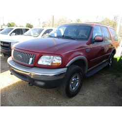 1999 FORD EXPEDITION VIN/SN:1FMPU18L6XLA97443 - 4X4, V8 GAS ENGINE, A/T, ODOMETER READING 255,000 MI