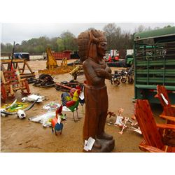 """TEAK WOOD HAND CARVED INDIAN, 80"""" TALL"""