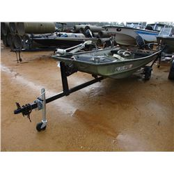 FLAT BOTTOM BOAT, VIN/SN:ACBB6812I495 - 14' ALUMINUM, 25HP MERCURY OUTBOARD ENGINE, MOTOR GUIDE TROL