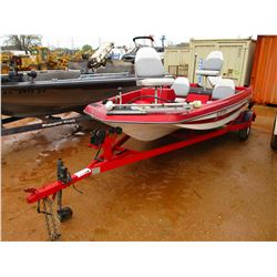 SPRINT 255 FIBERGLASS BASS BOAT, VIN/SN:FIW17118B595 - JOHNSON 50 HP OUTBOARD, MOTOR GUIDE TROLLY MO