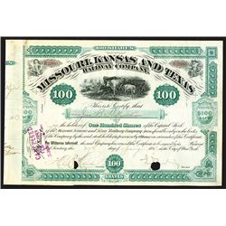 Missouri, Kansas and Texas, 1883 Issued Stock Certificate Signed by Jay Gould as President.