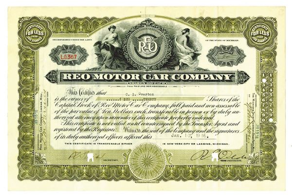 REO Motor Car Co , 1916 Canceled Stock Certificate Signed by R E  Olds as  President