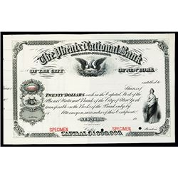 Phenix National Bank of the City of New York, 1907 Specimen Stock Certificate.