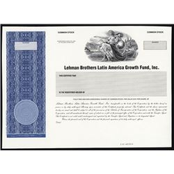 Lehman Brothers Latin American Growth Fund, Inc. ca.1960-1970 Specimen Proof