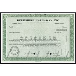 Berkshire Hathaway Inc. Specimen Common Stock and Possible IPO Issue from 1973.