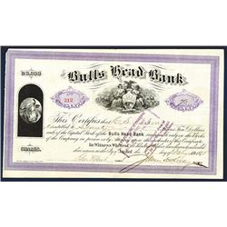 Bulls Head Bank, 1875 Issued Stock Certificate.